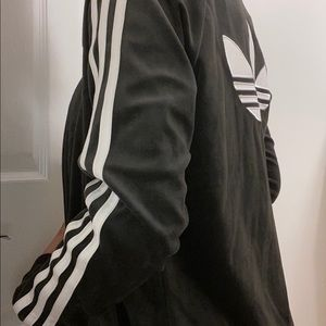 adidas Jackets & Coats - Black/gray Adidas velvet jacket 3 stripes.